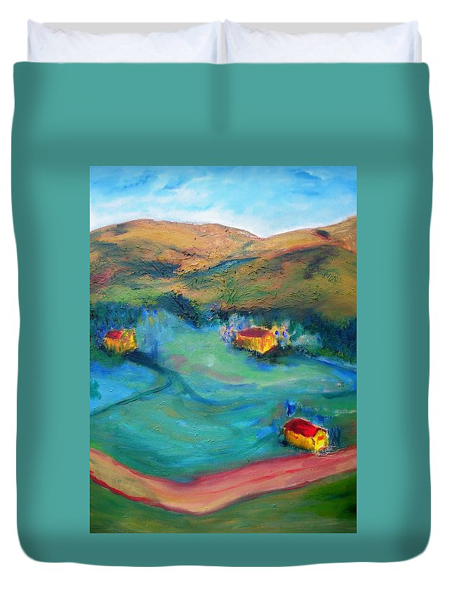 Landscape Duvet Cover featuring the painting Beit Shemesh by Suzanne Udell Levinger