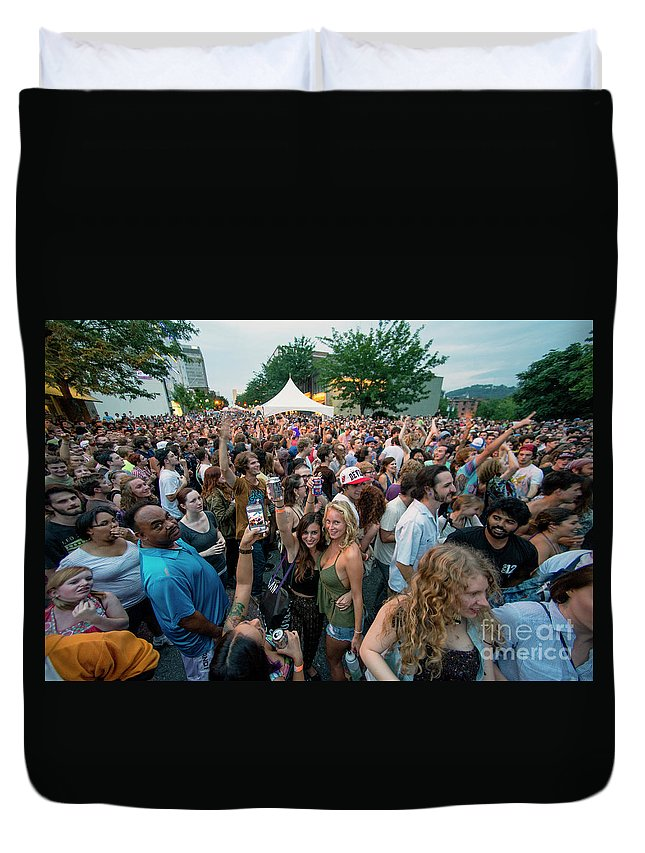 Asheville Duvet Cover featuring the photograph Bele Chere Festival Crowd by David Oppenheimer