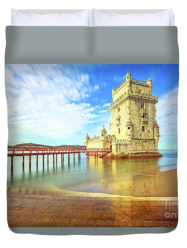 Lisbon Duvet Cover featuring the photograph Belem Tower Reflects by Benny Marty