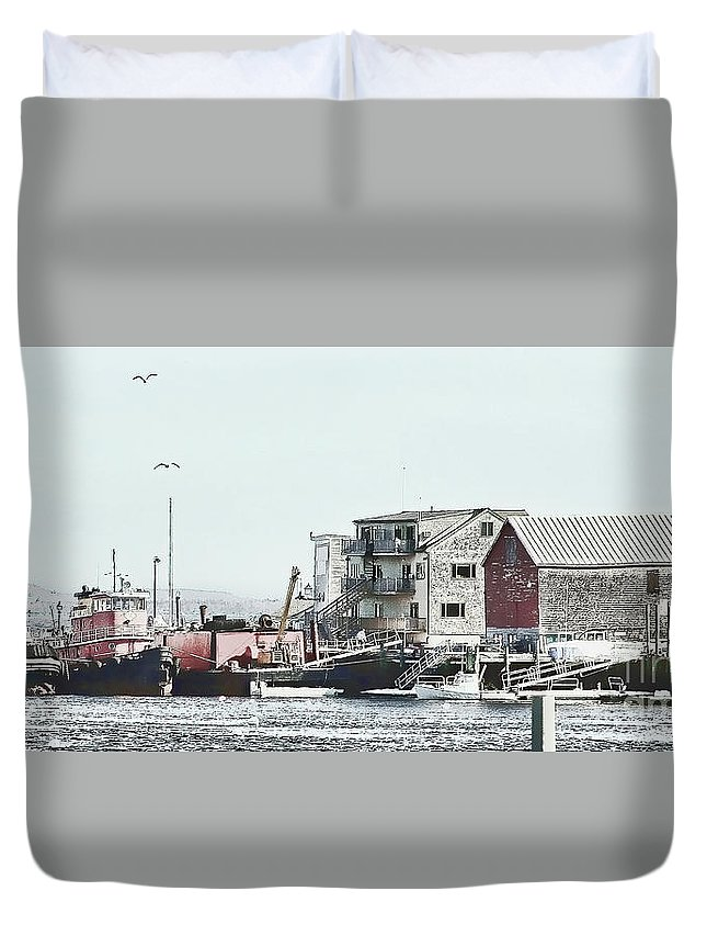 Maine Duvet Cover featuring the photograph Belfast Tugs 2 by Laura Mace Rand