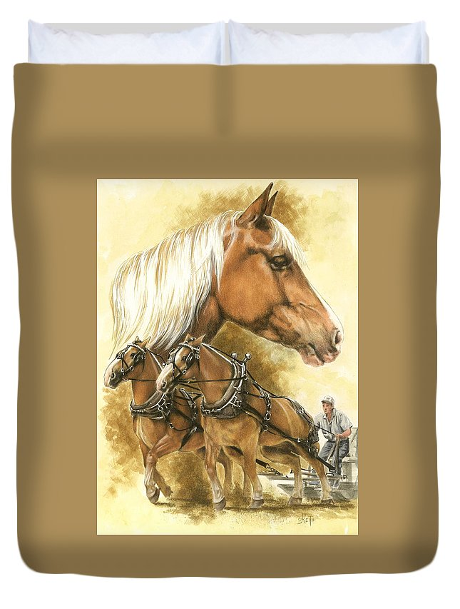 Equus Duvet Cover featuring the mixed media Belgian by Barbara Keith