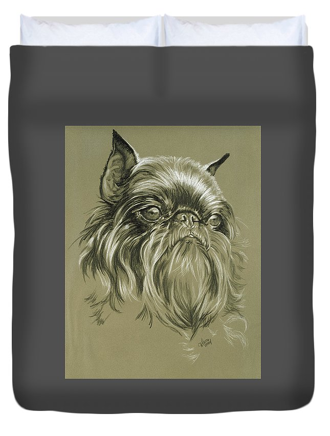 Toy Group Duvet Cover featuring the drawing Belgian Griffon In Charcoal by Barbara Keith