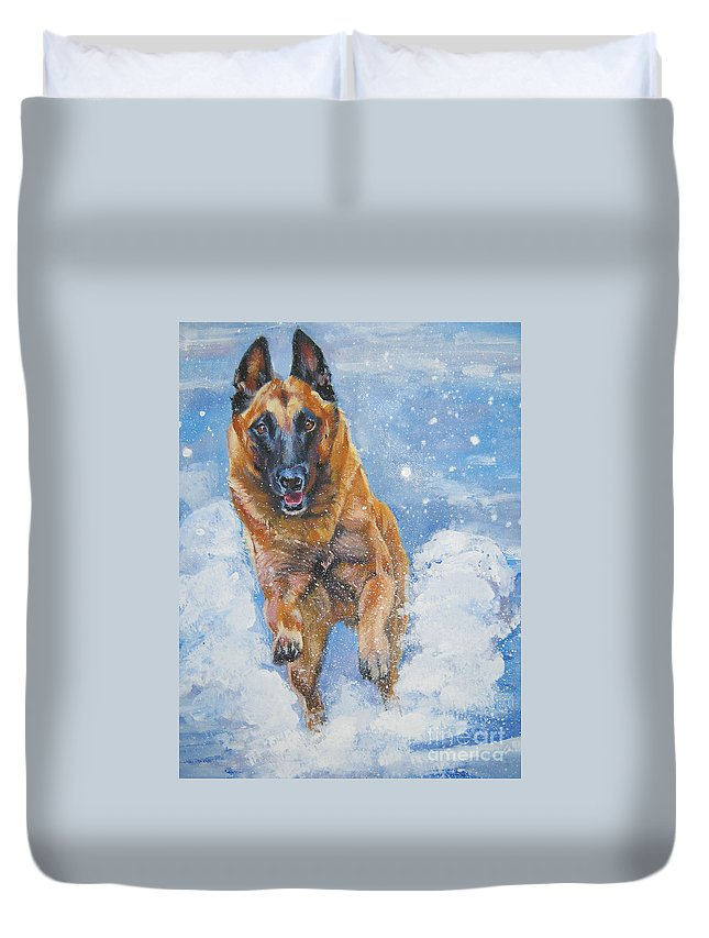 Belgian Malinois Duvet Cover featuring the painting Belgian Malinois In Snow by Lee Ann Shepard