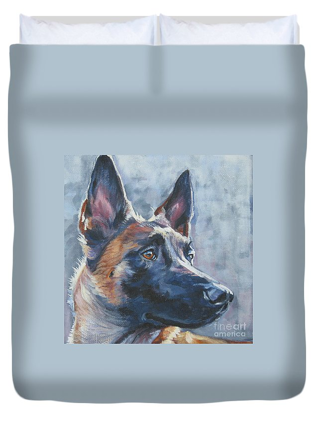 Belgian Malinois Duvet Cover featuring the painting Belgian Malinois In Winter by Lee Ann Shepard