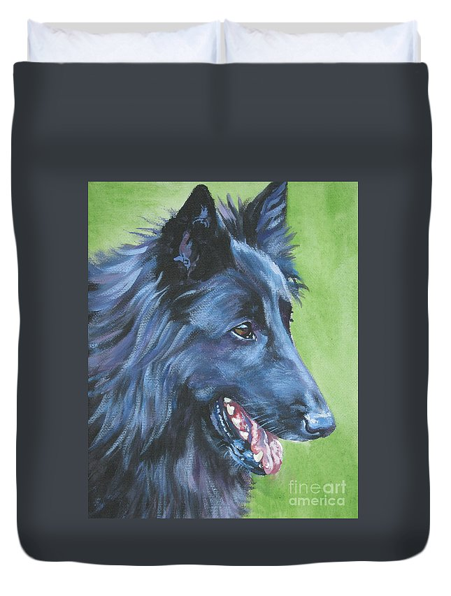 Belgian Sheepdog Duvet Cover featuring the painting Belgian Sheepdog by Lee Ann Shepard