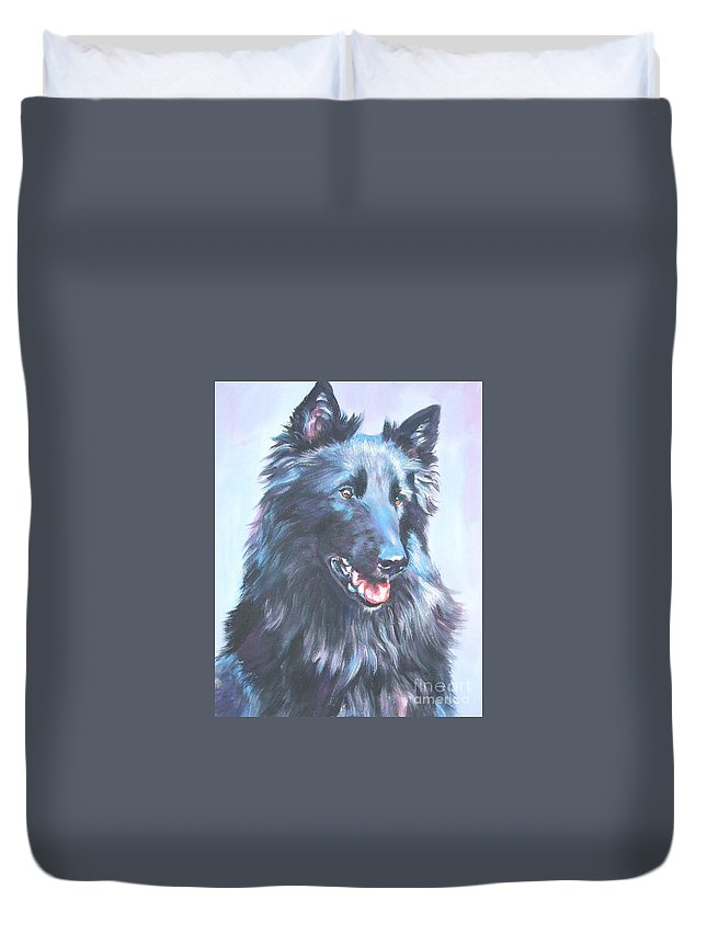 Belgian Sheepdog Duvet Cover featuring the painting Belgian Sheepdog Portrait by Lee Ann Shepard