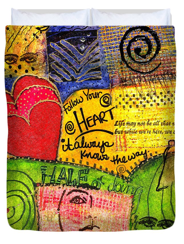 Greeting Cards Duvet Cover featuring the mixed media Believing You Can by Angela L Walker