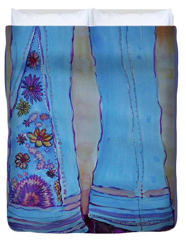 Embroidered Bell Bottoms Duvet Cover featuring the painting Bell Bottoms by Jacqueline Athmann