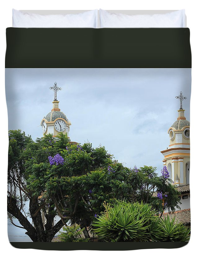 Church Duvet Cover featuring the photograph Bell Towers Next To Trees by Robert Hamm