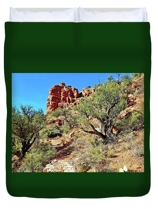 Bell Duvet Cover featuring the photograph Bell Trail by Bonny Puckett