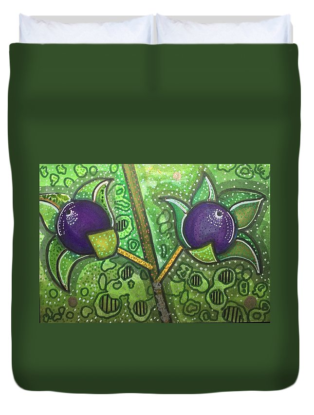 Deadly Nightshade Duvet Cover featuring the mixed media Bella Donna by Regina Jeffers