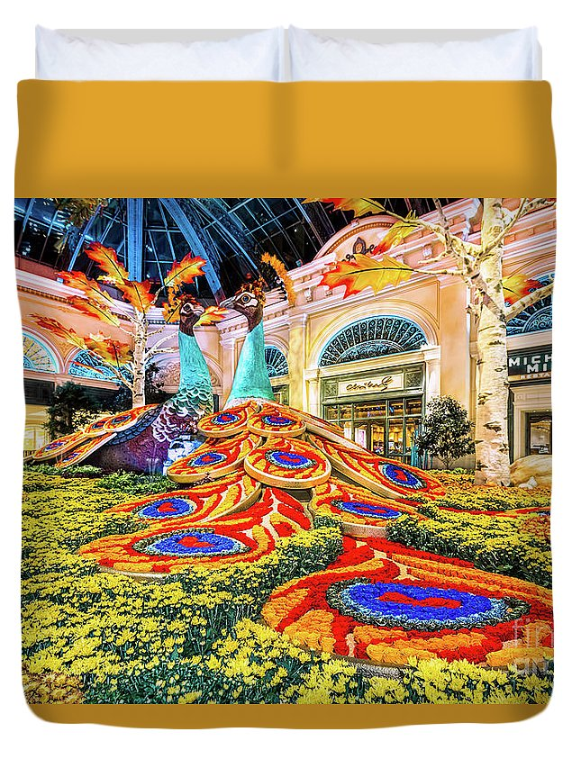 Bellagio Conservatory Duvet Cover featuring the photograph Bellagio Conservatory Fall Peacock Display Side View Wide 2017 by Aloha Art