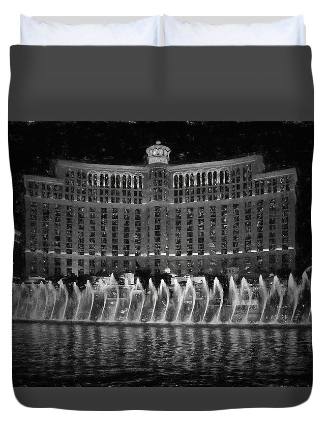 Las Vegas Duvet Cover featuring the photograph Bellagio Fountains by Deb Barchus