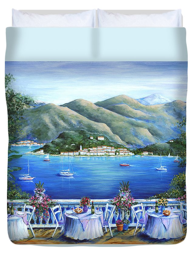 Bellagio Duvet Cover featuring the painting Bellagio From The Cafe by Marilyn Dunlap