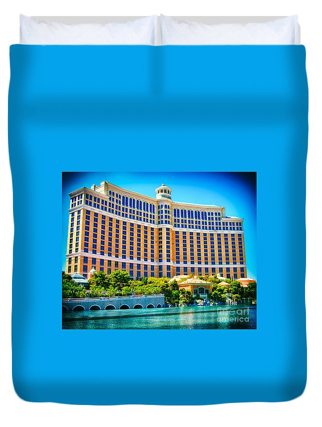 Bellagio Duvet Cover featuring the photograph Bellagio Hotel And Casino by Mariola Bitner