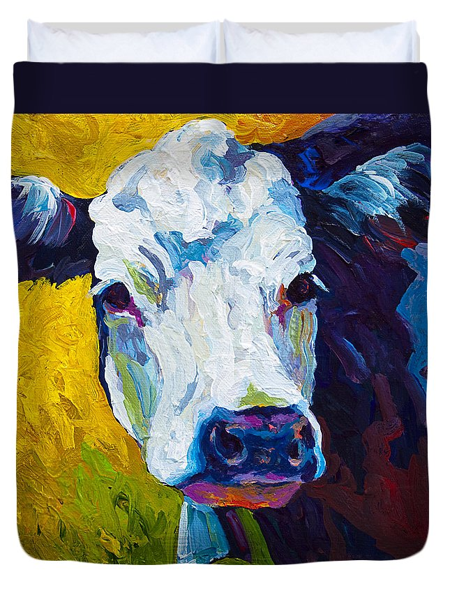Cows Duvet Cover featuring the painting Belle by Marion Rose
