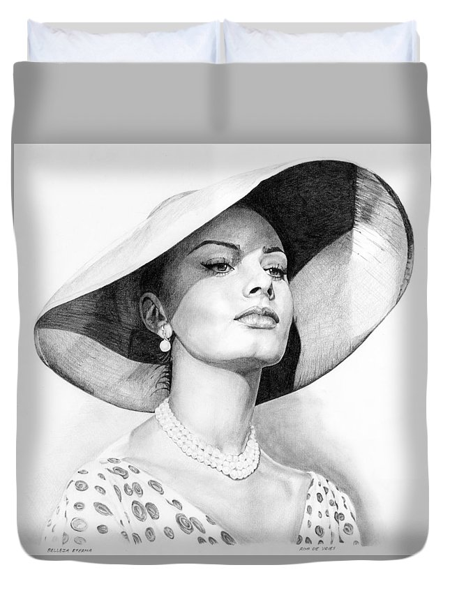 Sophia Duvet Cover featuring the drawing Bellezza Eterna by Rob De Vries