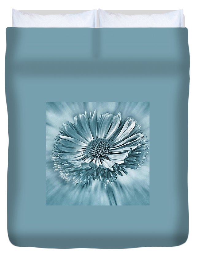 Beautiful Duvet Cover featuring the photograph Bellis In Cyan  #flower #flowers by John Edwards