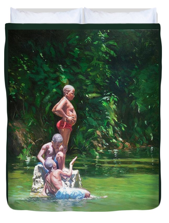 Black Art Duvet Cover featuring the painting Belly by Colin Bootman
