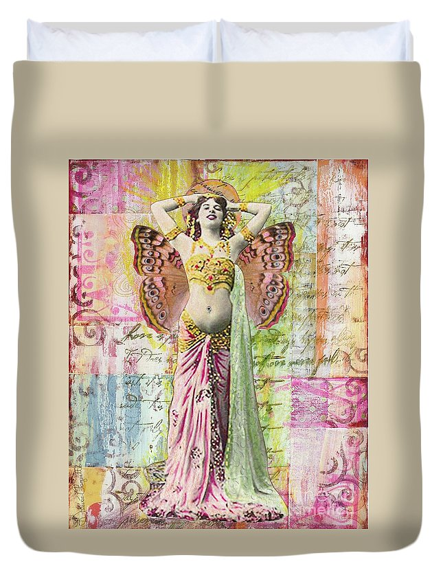 Belly Dancer Duvet Cover featuring the mixed media Belly Dancer by Desiree Paquette