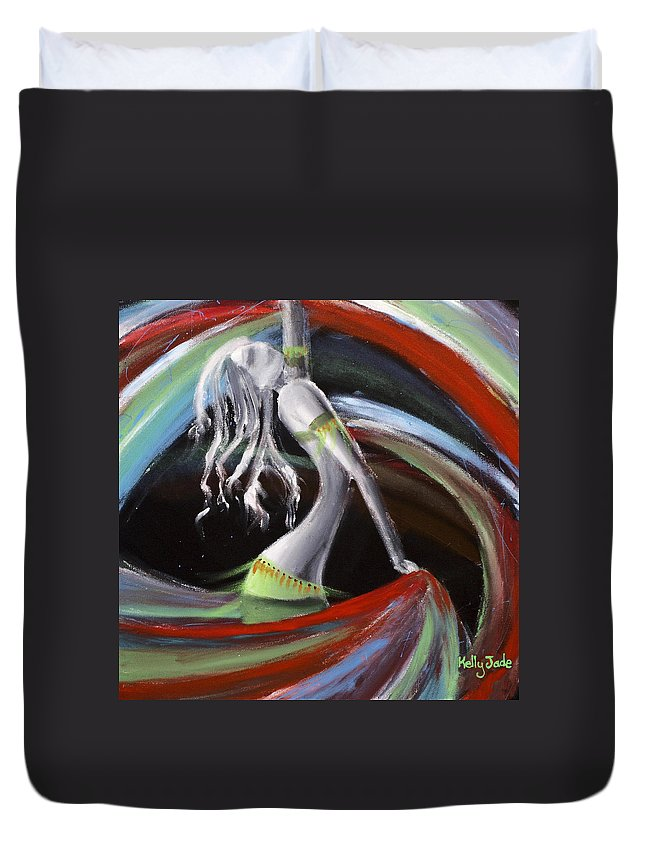Colourful Duvet Cover featuring the painting Belly Dancer by Kelly Jade King