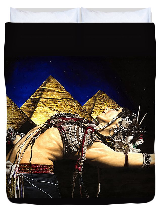 Bellydance Duvet Cover featuring the painting Bellydance of the Pyramids - Rachel Brice by Richard Young