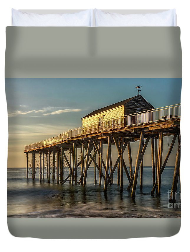 New Jersey Duvet Cover featuring the photograph Belmar Fishing Pier by Jerry Fornarotto