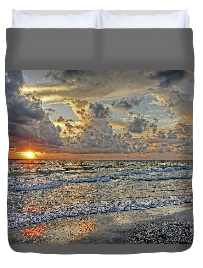 Florida Sunset Duvet Cover featuring the photograph Beloved - Florida Sunset by HH Photography of Florida