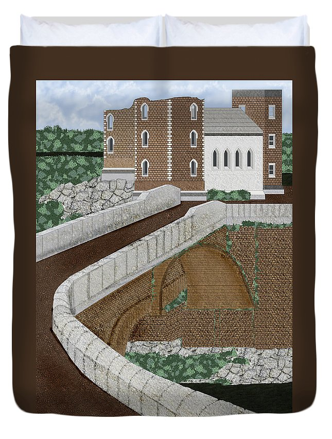 Castle Ruins Duvet Cover featuring the painting Beloved Ruins by Anne Norskog