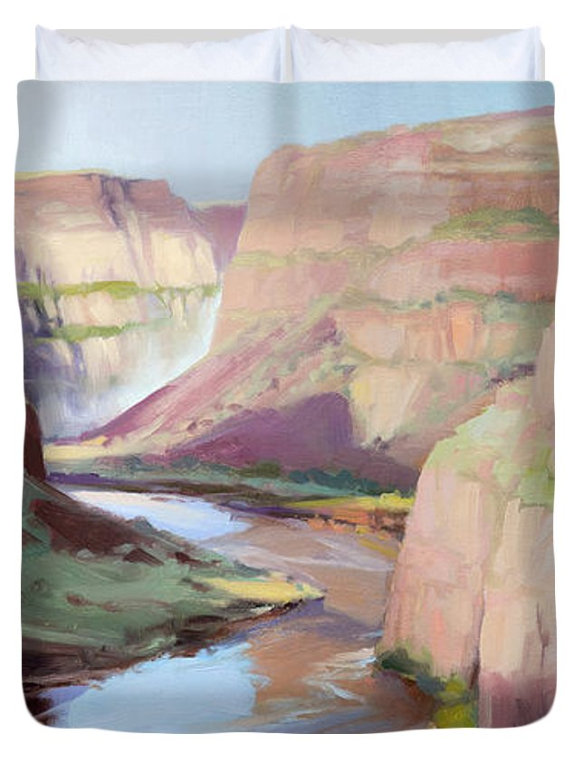 Waterfall Duvet Cover featuring the painting Below Palouse Falls by Steve Henderson