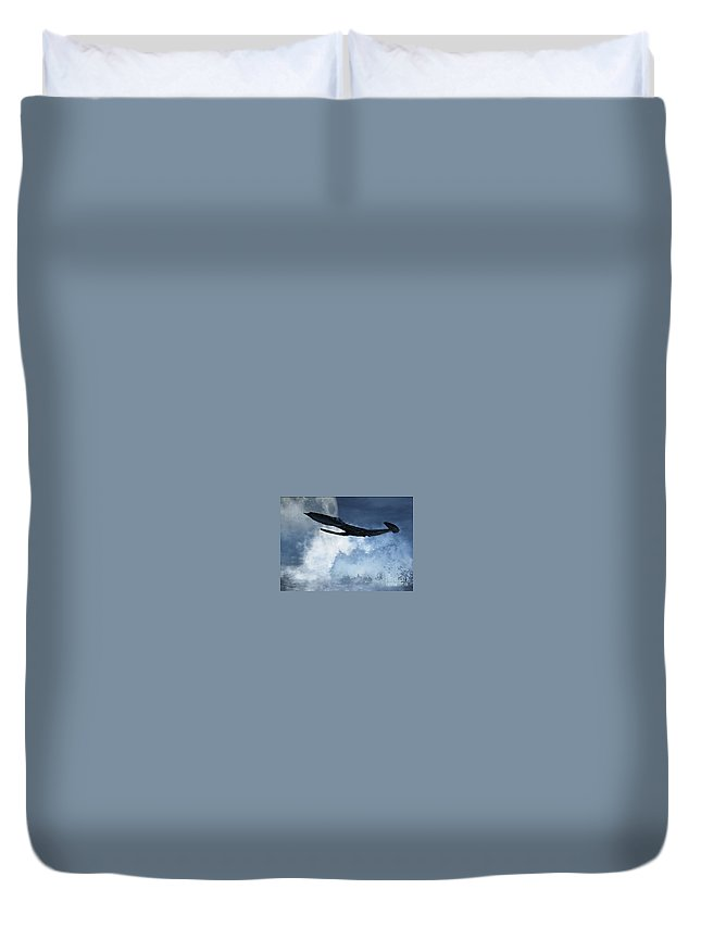 Flight Duvet Cover featuring the digital art Below Radar by Richard Rizzo