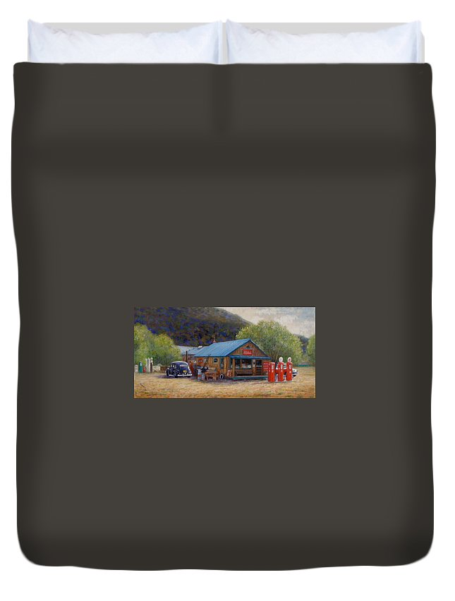 Realism Duvet Cover featuring the painting Below Taos 2 by Donelli DiMaria