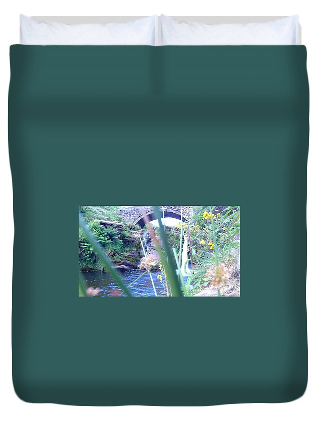 Water Duvet Cover featuring the photograph Below The Bridge by Jon Rushton