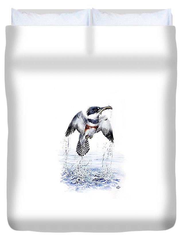 Chris Cox Duvet Cover featuring the painting Belted Kingfisher by Christopher Cox