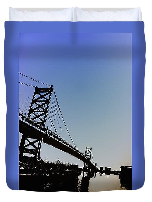 Philadelphia Duvet Cover featuring the photograph Ben Franklin Bridge by Bill Cannon