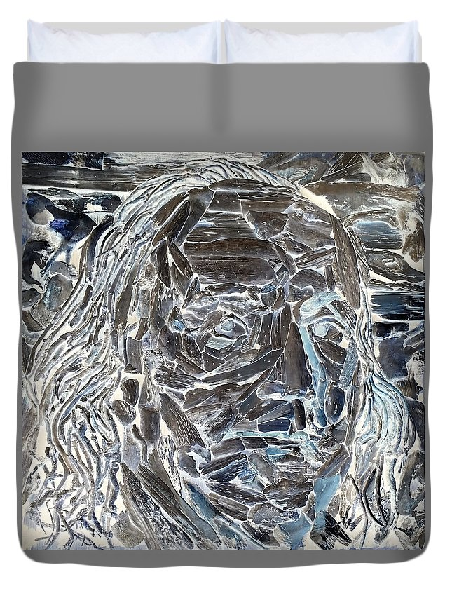 Ben Franklin Duvet Cover featuring the photograph Ben In Wood Negative Art by Rob Hans