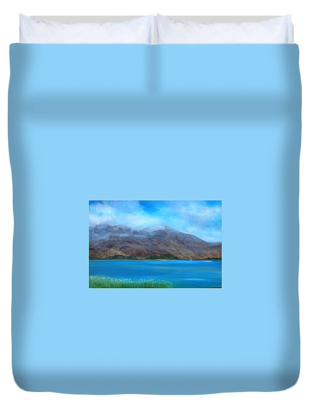 Scotland Duvet Cover featuring the painting Ben More On Mull by Scott Brennan