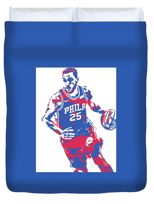 Ben Simmons Duvet Cover featuring the mixed media Ben Simmons Philadelphia Sixers Pixel Art 3 by Joe Hamilton