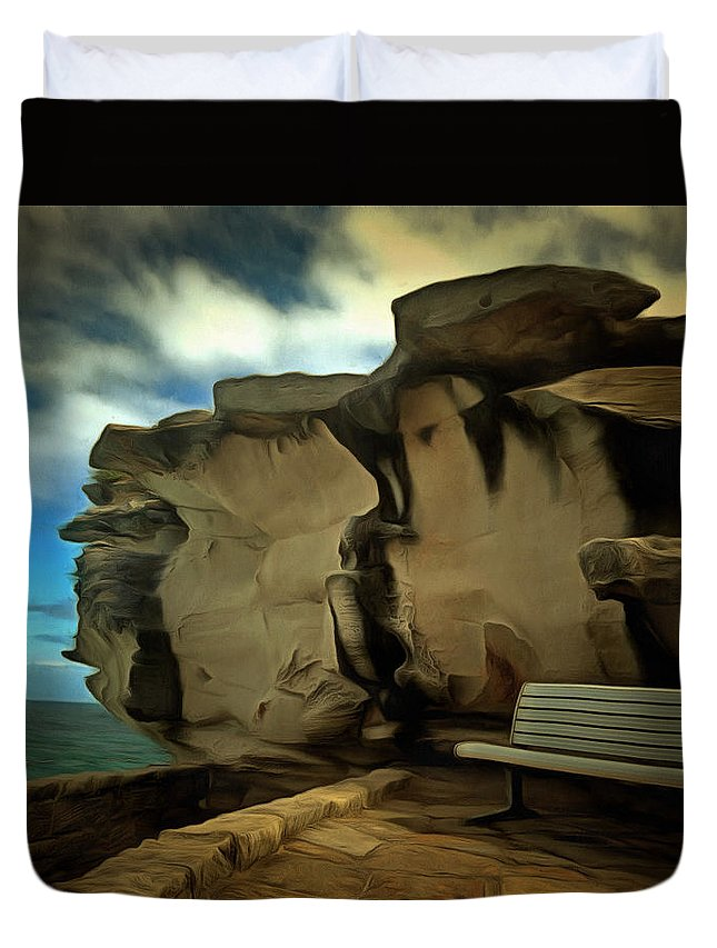 Lonely Place Duvet Cover featuring the photograph Bench And Huge Overhanging Rock by Ashish Agarwal