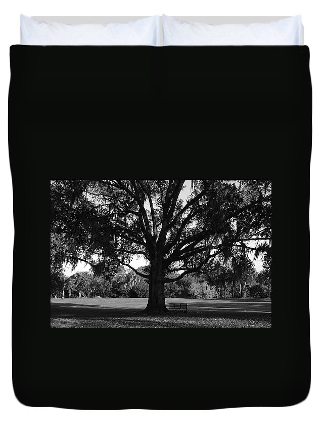 Park Bench Duvet Cover featuring the photograph Bench Under Oak by David Lee Thompson