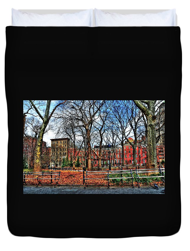 Wsp Duvet Cover featuring the photograph Bench View In Washington Square Park by Randy Aveille