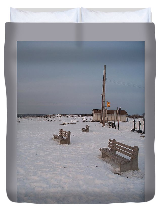 Benches Duvet Cover featuring the photograph Benches At Sunset Beach Nj by Eric Schiabor