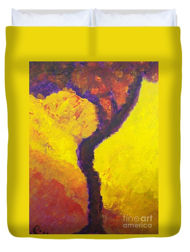Bendy Tree Duvet Cover featuring the painting Bendy Tree by Laurette Escobar