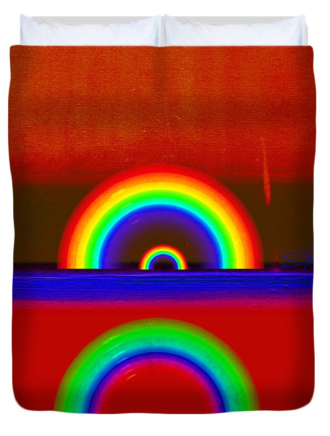 Rainbow Duvet Cover featuring the painting Beneath The Deep Blue Sea by Charles Stuart
