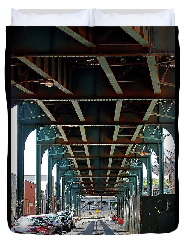 Trains Duvet Cover featuring the photograph Beneath The Elavated by Cate Franklyn