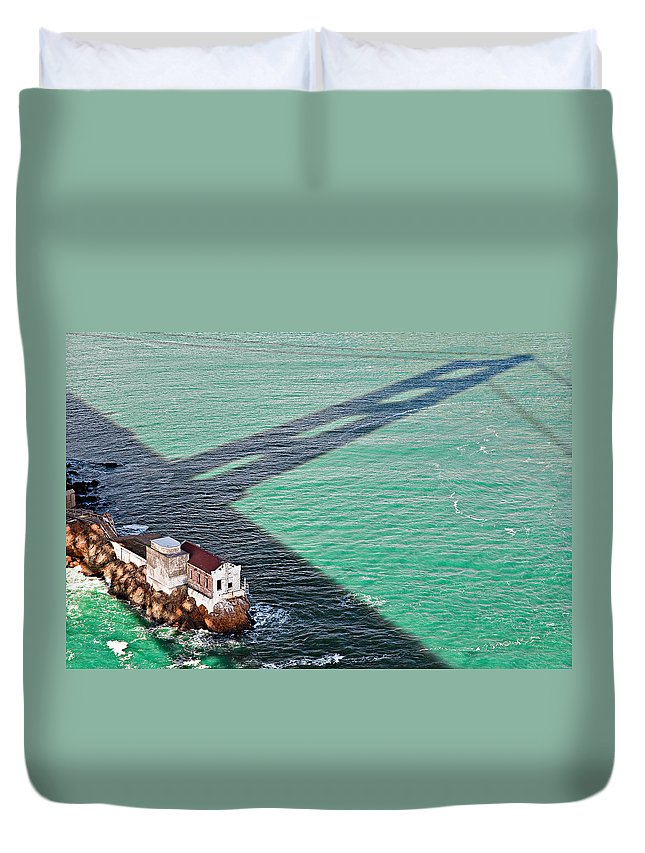 Golden Gate Bridge Duvet Cover featuring the photograph Beneath The Golden Gate by Dave Bowman