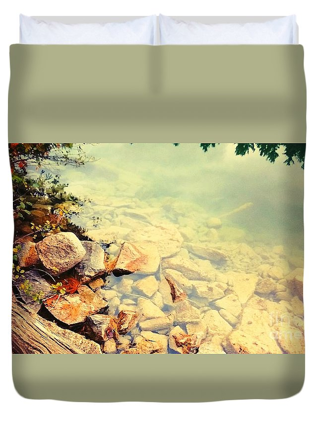 Water Duvet Cover featuring the photograph Beneath The Water by Nura Abuosba