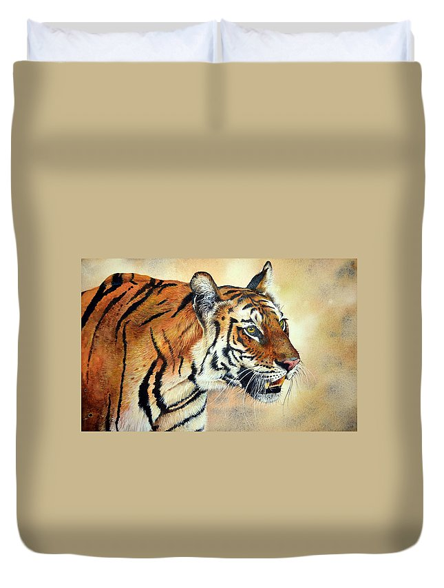 Bengal Tiger Duvet Cover featuring the painting Bengal Tiger by Paul Dene Marlor