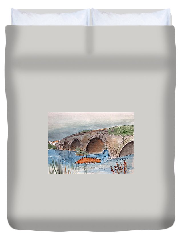 Bennets Bridges Duvet Cover featuring the drawing Bennets Bridges by Carol Veiga