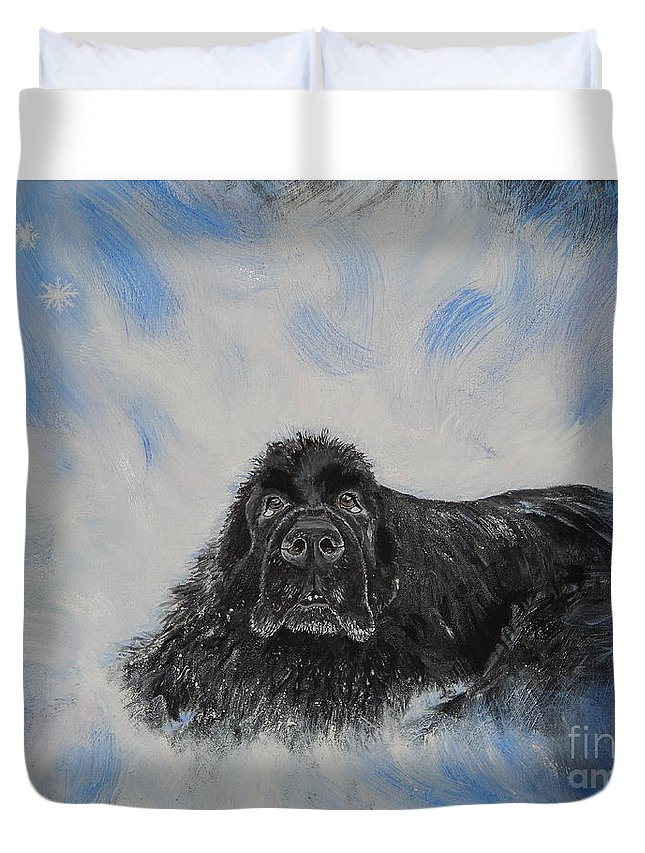 Dog Duvet Cover featuring the painting Bennies Love by Lisa Rose Musselwhite